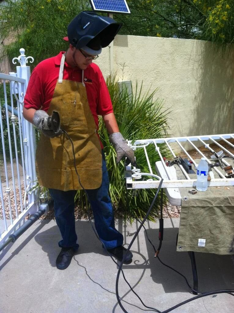 Performing Mobile Welding On A Property Gate