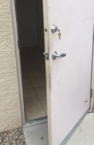 Door with deadbolt installed