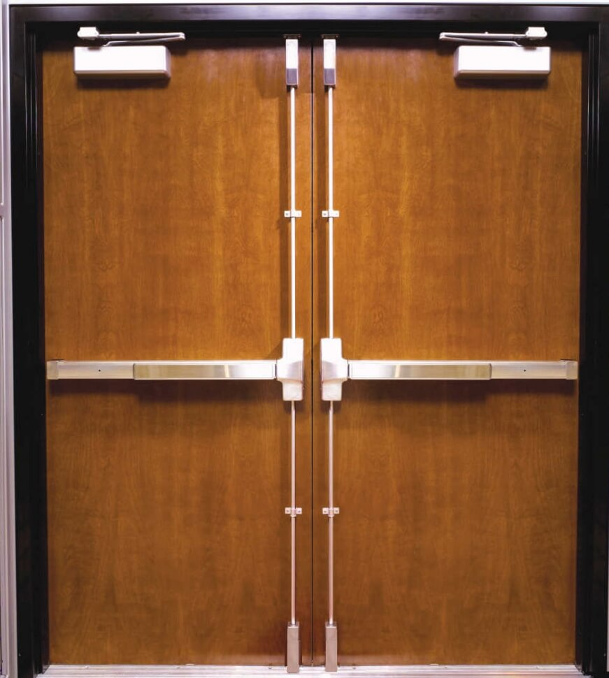 Double door with vertical rod panic devices.