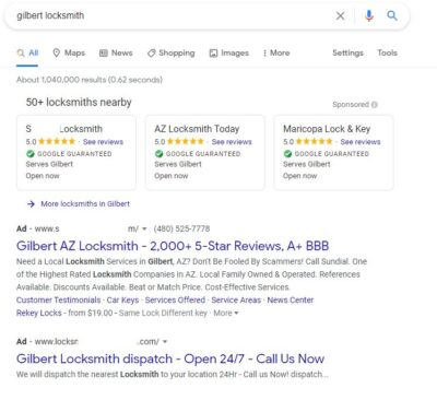 ADs Do Not Show Gilbert Locksmiths